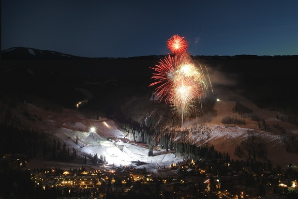 Fireworks light up the sky over Vail Mountain just steps away from the Red Lion.