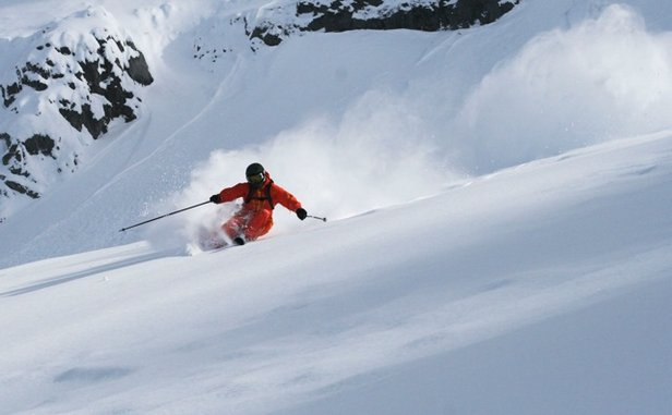 Carving up the powder in Chamonix, France