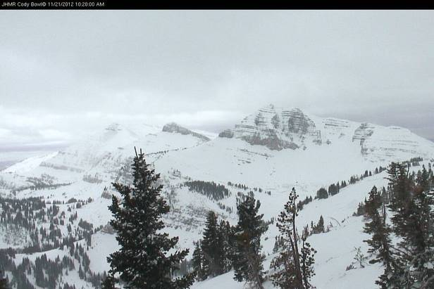 A recent webcam shot showing Cody Bowl in Jackson Hole, Wyoming.