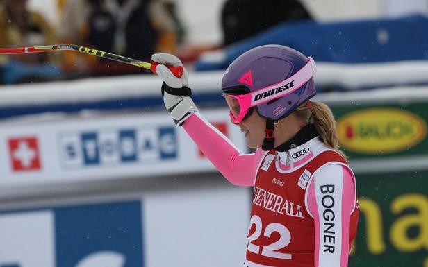 Maria Höfl-Riesch ist zufrieden: Rang drei in der ersten Abfahrt von Lake Louise sollte ihr bestes Ergebnis bleiben