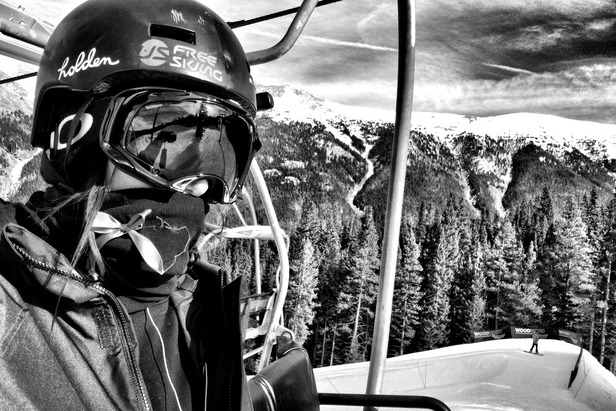 Meg poses for a self portrait during her road to recovery at Copper Mountain this season.