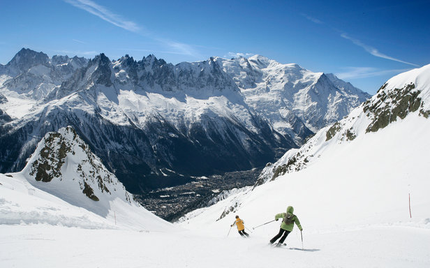 Skiing at Chamonix on La Flegère sector