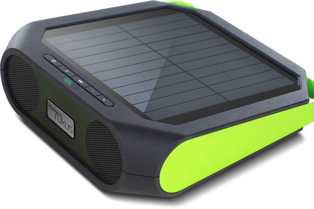 Etón Rugged Rukus Speakers are solar powered and feature a backup, rechargeable battery.