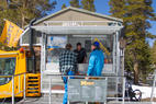Burritos come by snowcat at Mammoth