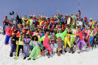 A retro ski fashion contest at Le Massif, QUE.