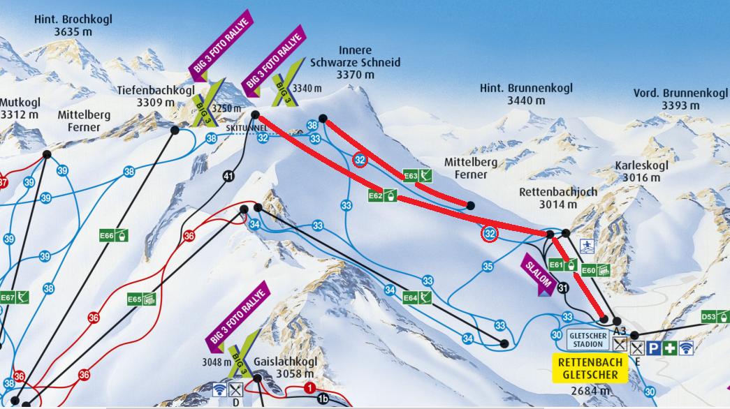 Mapa lanoviek a zjazdoviek, ktoré premávajú od 3.10. na ľadovci Rettenbach