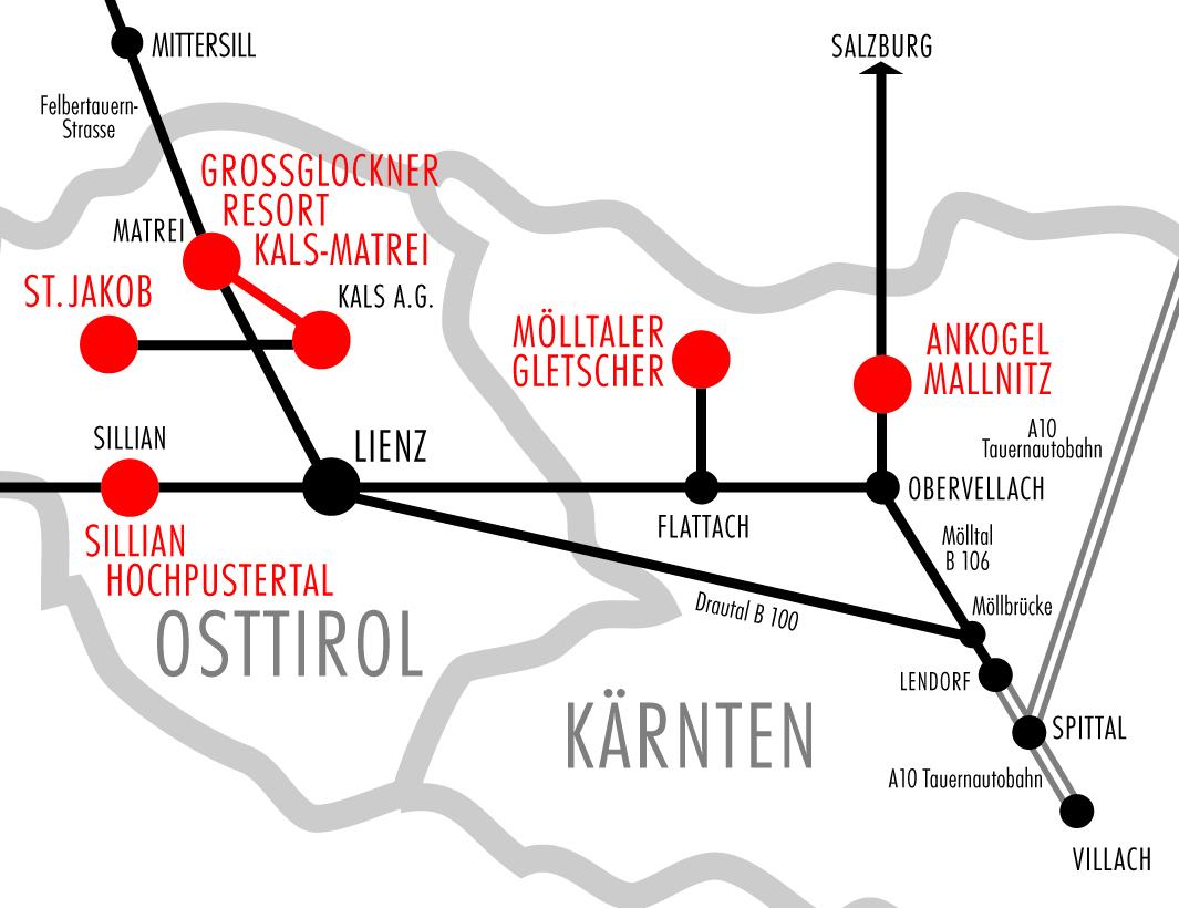 Orientačná mapka stredísk v okolí Mölltalu