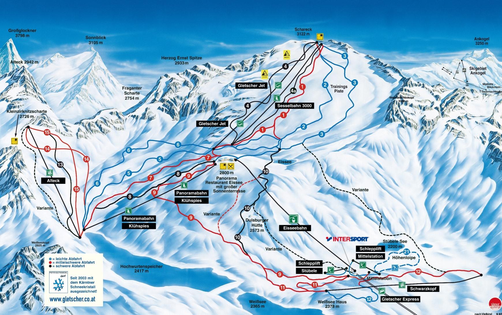 Mapa tratí v ľadovcovom stredisku Mölltal