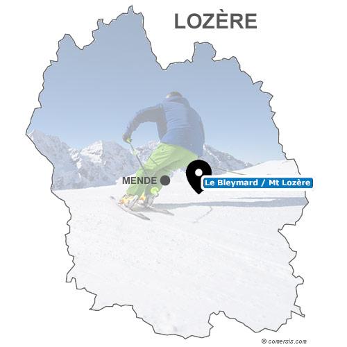 Carte des stations de ski de Lozère (48)