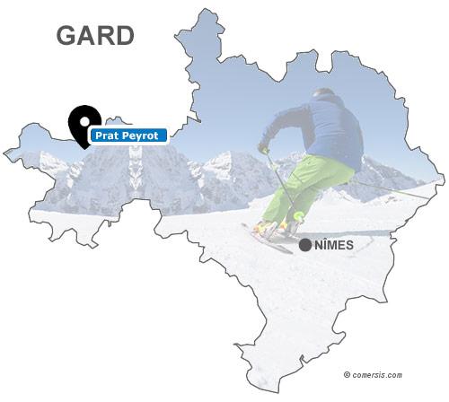 Carte des stations de ski du Gard (30)