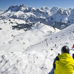 Looking down over The Wall's fearsome verical in the Portes du Soleil - ©Portes du Soleil