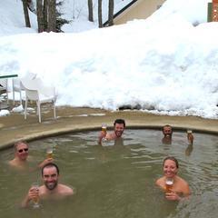 Soaking in the hot springs of Termas de Chillan, Chile. Credit PowderQuest