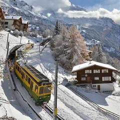 Wengen Railway is a great way of taking in the idyllic scenery. - ©Wenger-Lauberhorn