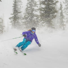 A little wind and snow isn't going to keep Darcy Conover - a pro skier based in Aspen/Snowmass - off the slopes. The Smith Optics and Marmot-sponsored athlete has skied in all kinds of conditions and terrain to get the shots Marmot and Smith need to promo - ©Jeremy Swanson
