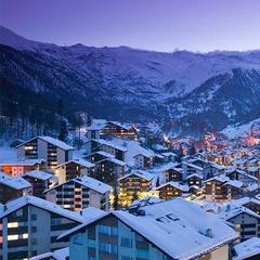 Snow-clad Zermatt town centre, Switzerland