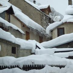 Snow piling up on rooftops in Serre Che. Feb. 13, 2014