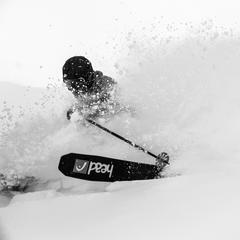 It was a very snowy week in Banff. Skier, Keegan Capel gets yet another powder run at Sunshine. - ©Liam Doran