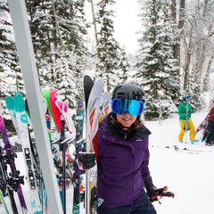 Ski testing is a game of grab and go! - ©Cody Downard Photography
