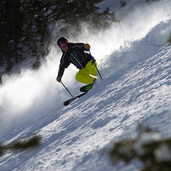 Tester, Harper Phillips gettin after it on day 3, all-mountain skis. - ©Cody Downard Photography