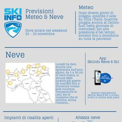 Infografica - Previsioni Meteo & Neve weekend 22-23 Novembre 2014 - ©Skiinfo.it