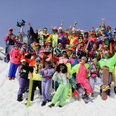 A retro ski fashion contest at Le Massif, QUE.