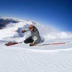 Skiing powder atop Treble Cone, NZ. - ©Treble Cone/Ben Skinner
