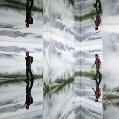 Nowe muzeum fotografii górskiej LUMEN na szczycie Kronplatz - sala lustrzana