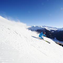 Skier above Davos village