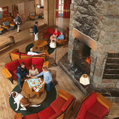 Lobby at Timberline Lodge. Photo courtesy of Timberline Lodge.