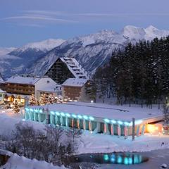 Casino Crans Montana lit up at night