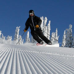 Groomer skiing at Brundage. Photo courtesy of Brundage Mountain Resort.