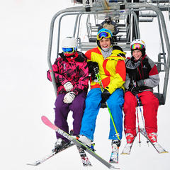 A group of young skiers riding the lift at Crotched. Photo Courtesy of Crotched Mountain.