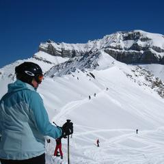 Routes into the Back Bowls at Lake Louise. Photo by Becky Lomax.