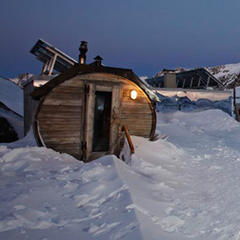 Highest outdoor sauna in Europe. Rifugio Bella Vista, Val Senales