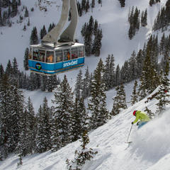 The terrain under Snowbirds aerial tram was perfect for testing all mountain skis. - ©Liam Doran